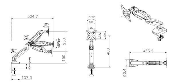 F80 kích thước - GIÁ ĐỠ MÀN HÌNH MÁY TÍNH F80 17-27 INCH