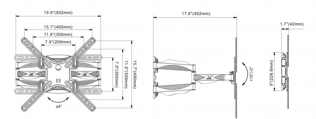 P5 kich thước - GIÁ TREO TIVI ĐA NĂNG NB-P5 32-60 INCH