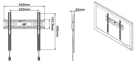 D2F kích thước - GIÁ TREO TIVI D2F 32 - 55 INCH