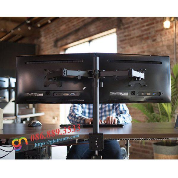 """gia treo hai man hinh dual monitor arm kep ban 17 27 inch 7 600x600 - GIÁ TREO HAI MÀN HÌNH MÁY TÍNH NGANG M052 KẸP BÀN ( 17""""- 27"""")"""