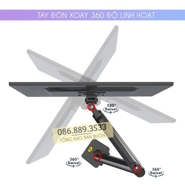 GIA TREO TAY TREO DO MAN HINH MAY TINH MONITOR 22 35 INCH F100A 2 600x600 - Giá treo màn hình máy tính NB F100A 22 - 35 inch - Mẫu Mới Nhất