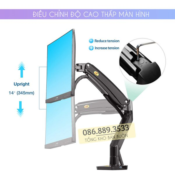 GIA TREO TAY TREO DO MAN HINH MAY TINH MONITOR 22 35 INCH F100A 3 600x600 - Giá treo màn hình máy tính NB F100A 22 - 35 inch - Mẫu Mới Nhất