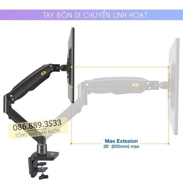 GIA TREO TAY TREO DO MAN HINH MAY TINH MONITOR 22 35 INCH F100A 4 600x600 - Giá treo màn hình máy tính NB F100A 22 - 35 inch - Mẫu Mới Nhất