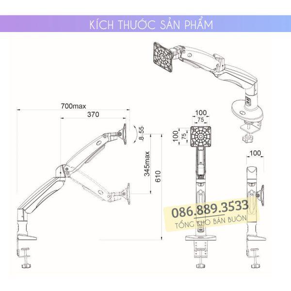 GIA TREO TAY TREO DO MAN HINH MAY TINH MONITOR 22 35 INCH F100A 6 600x600 - Giá treo màn hình máy tính NB F100A 22 - 35 inch - Mẫu Mới Nhất