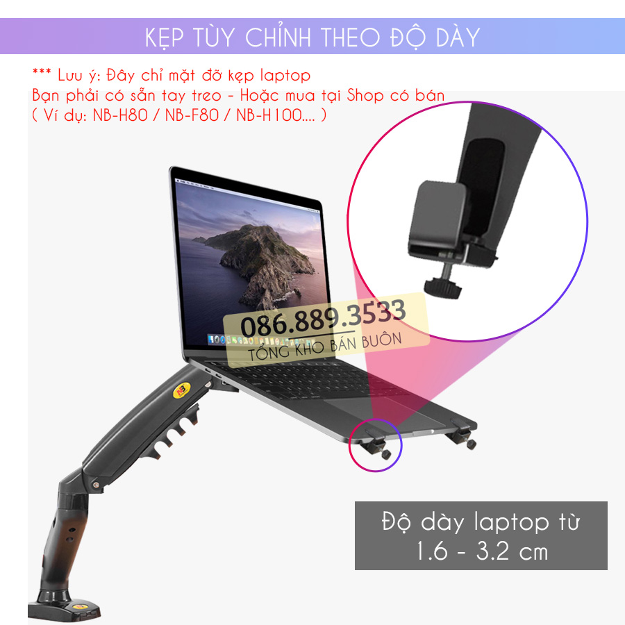 gia do kep laptop may tinh bang ipad macbook 10 16 inch 8 - Giá Đỡ Kẹp Laptop - Macbook - Máy Tính Bảng - Ipad XY360 10 - 16 Inch