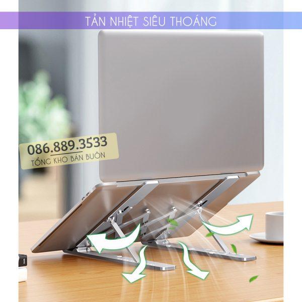 gia do laptop macbook may tinh bang tan nhiet 2 600x600 - Giá Đỡ Laptop Macbook Stand LS501 10 - 17 Inch - Hợp Kim Nhôm