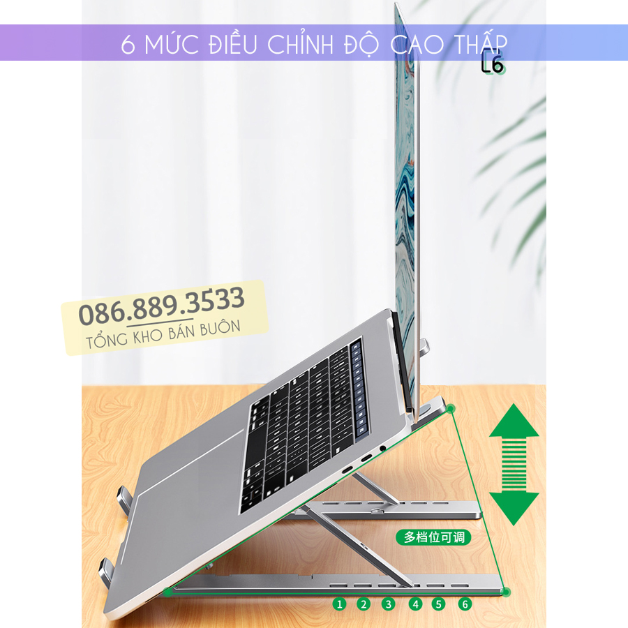 gia do laptop macbook may tinh bang tan nhiet 3 - Giá Đỡ Laptop Macbook Stand LS501 10 - 17 Inch - Hợp Kim Nhôm