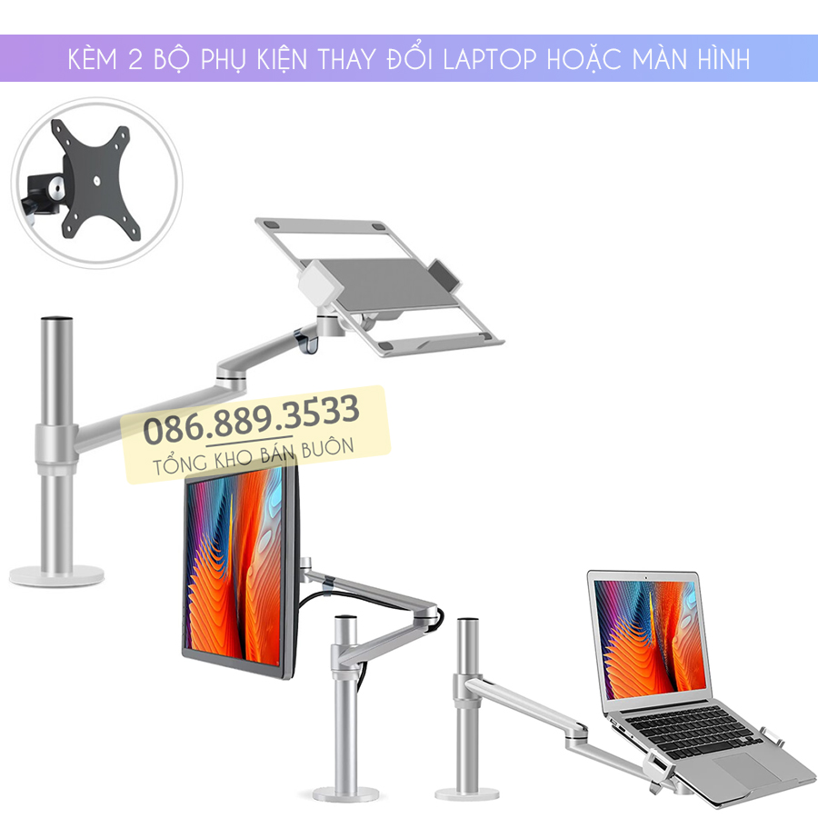 gia treo do laptop macbook may tinh bang 12 17 inch man hinh may tinh 17 32 inch ol 1s 8 - GIÁ ĐỠ KẸP LAPTOP – MACBOOK – IPAD – OL-1S 12 – 17 INCH